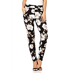 Quiz - Black and khaki crepe flower print trousers