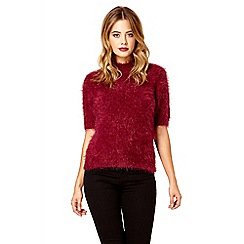 Quiz - Wine fluffy turtle neck short jumper