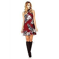Quiz - Berry crepe flower print turtle neck tunic dress