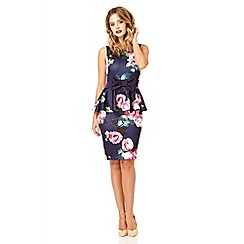 Quiz - Navy and pink flower print peplum dress