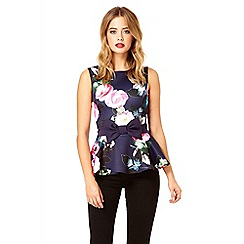 Quiz - Navy flower print bow peplum top