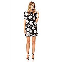 Quiz - Black and khaki flower crepe tunic dress