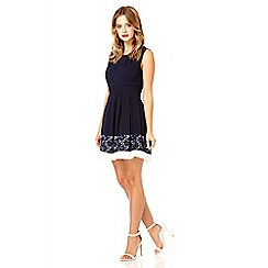 Quiz - Navy chiffon lace skater dress