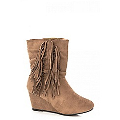 Quiz - Taupe fringe wedge boot