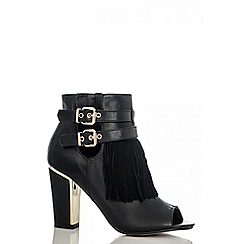 Quiz - Black tassel shoe boots