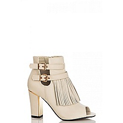 Quiz - Beige tassel shoe boots