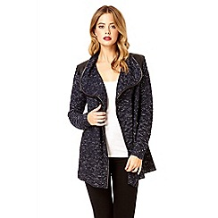 Quiz - Navy waterfall zip cardigan