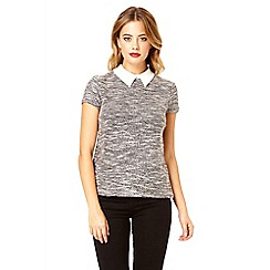 Quiz - Grey boucle collar top