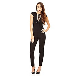 Quiz - Black textured lace up jumpsuit