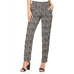 Quiz - Black zip detail print trousers