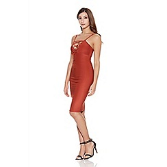 Quiz - Rust lace up front bodycon dress