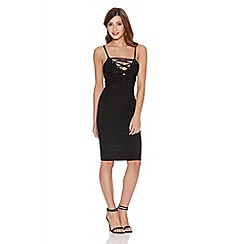 Quiz - Black lace up front bodycon dress