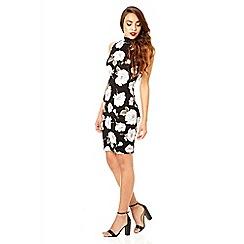 Quiz - Black and khaki turtle neck flower print bodycon dress