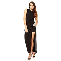 Quiz - Black slinky knot front maxi dress