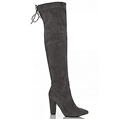 Quiz - Grey faux suede over the knee boots