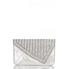 Quiz - Silver diamante clutch bag