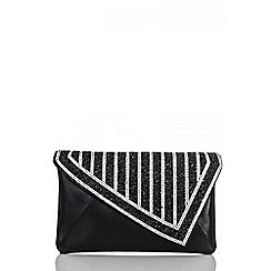 Quiz - Black facet jewel clutch bag