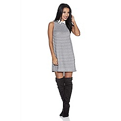 Quiz - Grey ribbed collar tunic dress