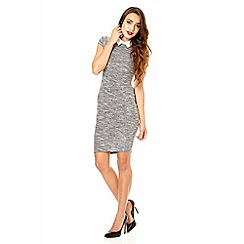 Quiz - Grey boucle collar dress