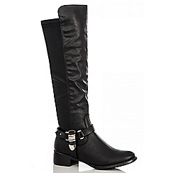 Quiz - Black pu gold chain boots