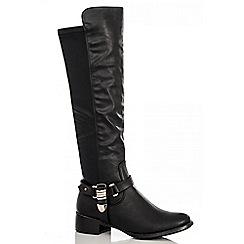 Quiz - Black pu gold chain boots