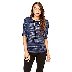 Quiz - Navy light knit necklace top