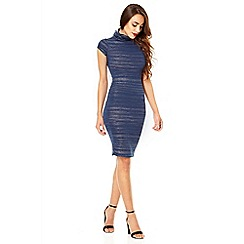 Quiz - Navy funnel turtle neck bodycon dress