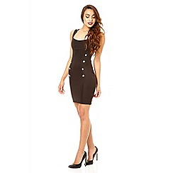 Quiz - Black gold button bodycon dress