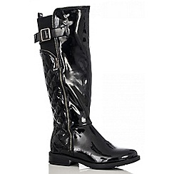 Quiz - Black Patent Quilted Long Boots