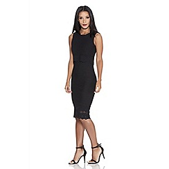 Quiz - Black Crepe Laser Cut Bodycon Dress