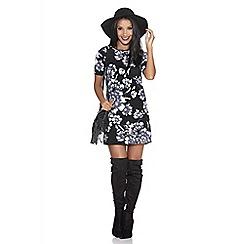 Quiz - Black and grey flower crepe tunic dress