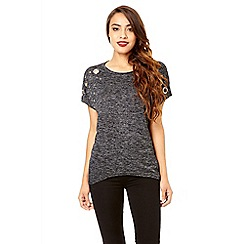 Quiz - Charcoal batwing eyelet detail top