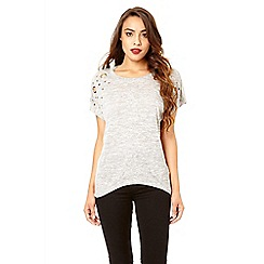 Quiz - Grey batwing eyelet detail top