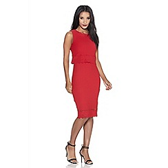 Quiz - Red crepe laser cut bodycon dress