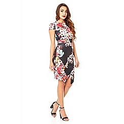 Quiz - Black flower print asymmetrical dress
