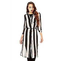 Quiz - Black and stone chiffon stripe long shirt