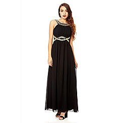 Quiz - Black and gold chiffon embellished maxi dress