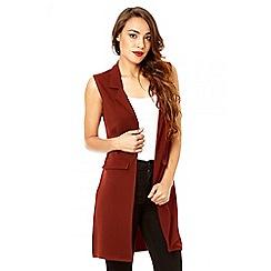 Quiz - Rust crepe lapel front waistcoat
