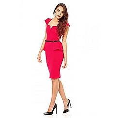 Quiz - Red marcella gold belt peplum dress