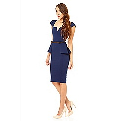Quiz - Navy marcella gold belt peplum dress