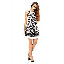 Quiz - White and black flower print panel dress
