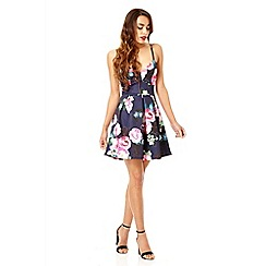 Quiz - Navy and pink flower print strap dress