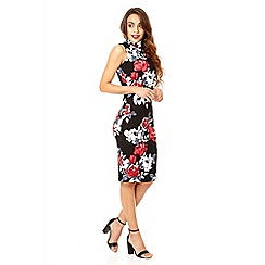 Quiz - Black and red turtle neck flower print bodycon dress