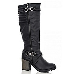 Quiz - Black Quilted Long Boots