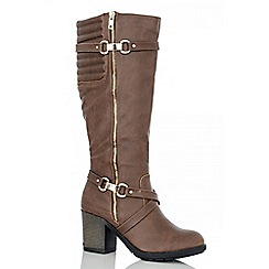 Quiz - Brown Quilted Long Boots