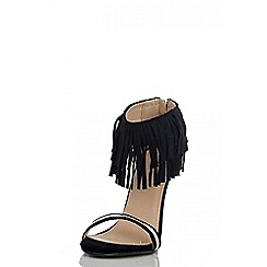 Quiz - Black Fringe Gold Plated Sandals