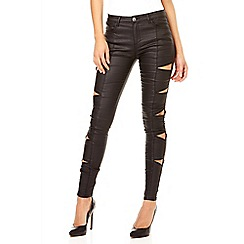 Quiz - Black zip detail wet look skinny jeans