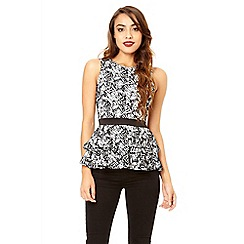 Quiz - White and black flock peplum top