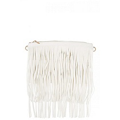 Quiz - White PU Fringe Bag
