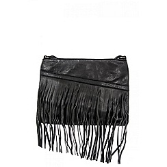 Quiz - Black PU Slant Zip Fringe Bag